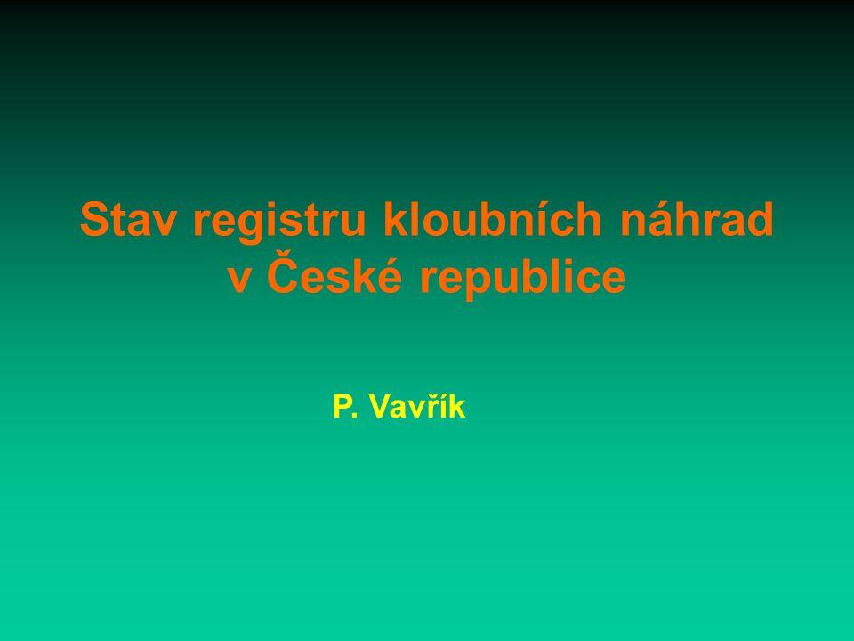 Stav registru kloubních náhrad v České republice P. Vavřík
