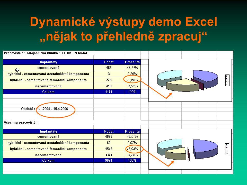 """Dynamické výstupy demo Excel """"nějak to přehledně zpracuj Období : 1.1.2004 - 15.4.2006"""