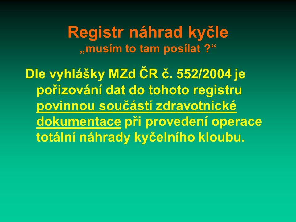 """Registr náhrad kyčle """"musím to tam posílat Dle vyhlášky MZd ČR č."""