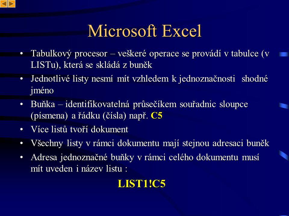 Microsoft Excel Tabulkový procesor – veškeré operace se provádí v tabulce (v LISTu), která se skládá z buněkTabulkový procesor – veškeré operace se pr