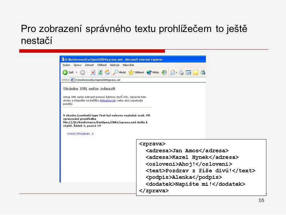 16 Pro zobrazení správného textu prohlížečem to ještě nestačí Jan Amos Karel Hynek Ahoj.
