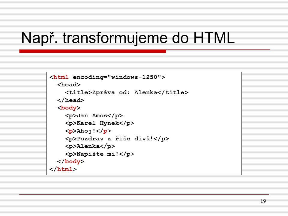 19 Např. transformujeme do HTML Zpráva od: Alenka Jan Amos Karel Hynek Ahoj.