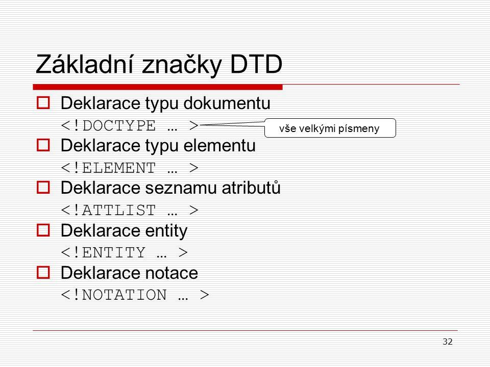 32 Základní značky DTD  D eklarace typu dokumentu  D eklarace typu elementu  D eklarace seznamu atributů  D eklarace entity  D eklarace notace vše velkými písmeny