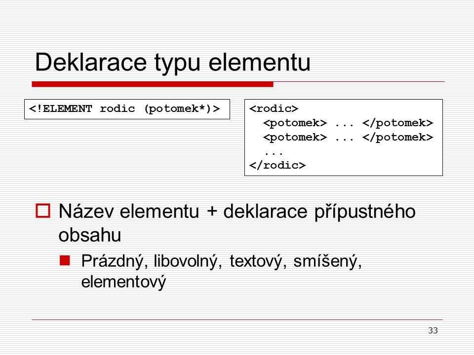 33 Deklarace typu elementu  Název elementu + deklarace přípustného obsahu Prázdný, libovolný, textový, smíšený, elementový...