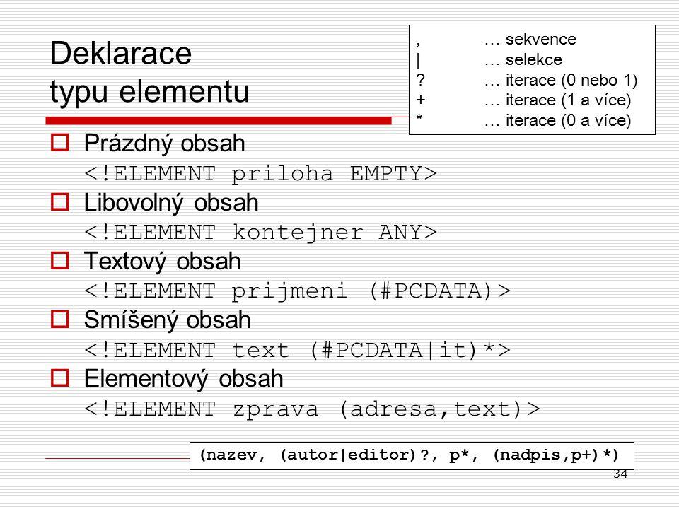 34 Deklarace typu elementu  Prázdný obsah  Libovolný obsah  Textový obsah  Smíšený obsah  Elementový obsah,… sekvence |… selekce ?… iterace (0 nebo 1) + … iterace (1 a více) *… iterace (0 a více) (nazev, (autor|editor)?, p*, (nadpis,p+)*)