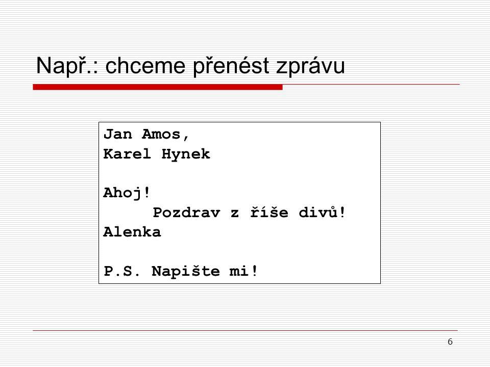 6 Např.: chceme přenést zprávu Jan Amos, Karel Hynek Ahoj.