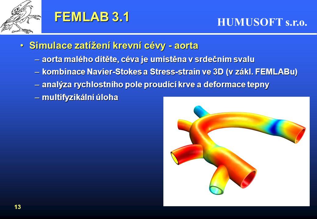 HUMUSOFT s.r.o. 13 FEMLAB 3.1 Simulace zatížení krevní cévy - aortaSimulace zatížení krevní cévy - aorta –aorta malého dítěte, céva je umístěna v srde