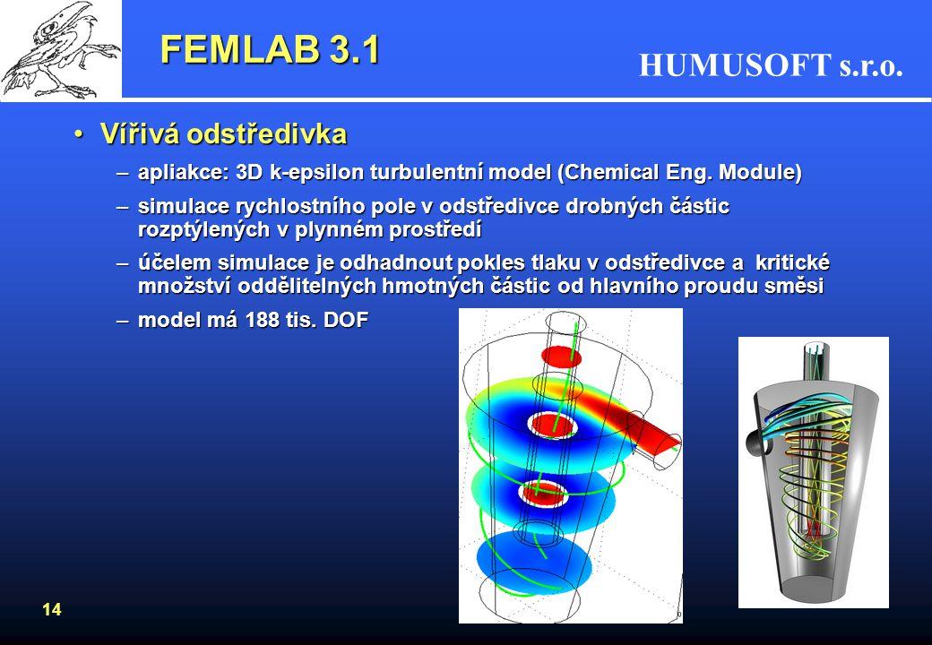 HUMUSOFT s.r.o. 14 FEMLAB 3.1 Vířivá odstředivkaVířivá odstředivka –apliakce: 3D k-epsilon turbulentní model (Chemical Eng. Module) –simulace rychlost