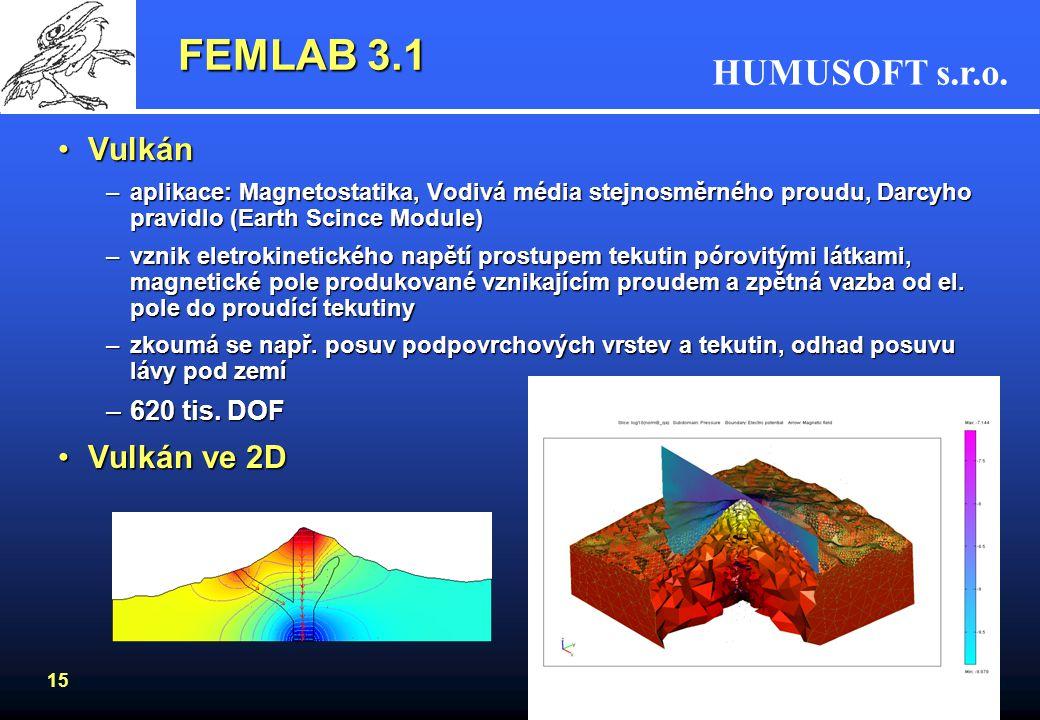 HUMUSOFT s.r.o. 15 FEMLAB 3.1 VulkánVulkán –aplikace: Magnetostatika, Vodivá média stejnosměrného proudu, Darcyho pravidlo (Earth Scince Module) –vzni