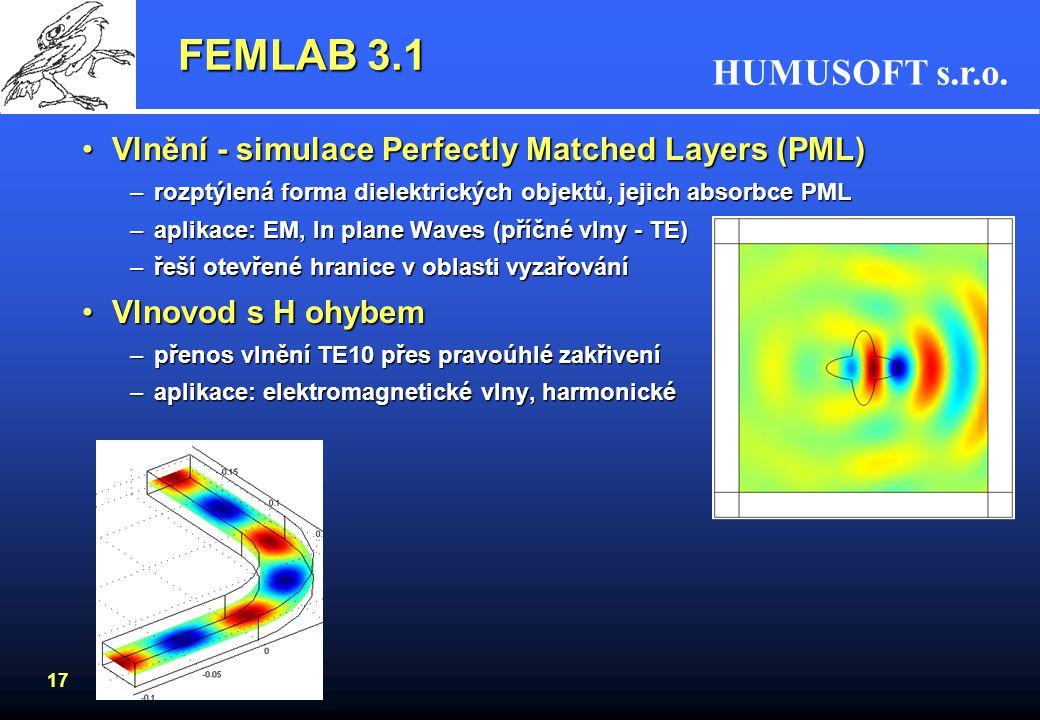 HUMUSOFT s.r.o. 17 FEMLAB 3.1 Vlnění - simulace Perfectly Matched Layers (PML)Vlnění - simulace Perfectly Matched Layers (PML) –rozptýlená forma diele