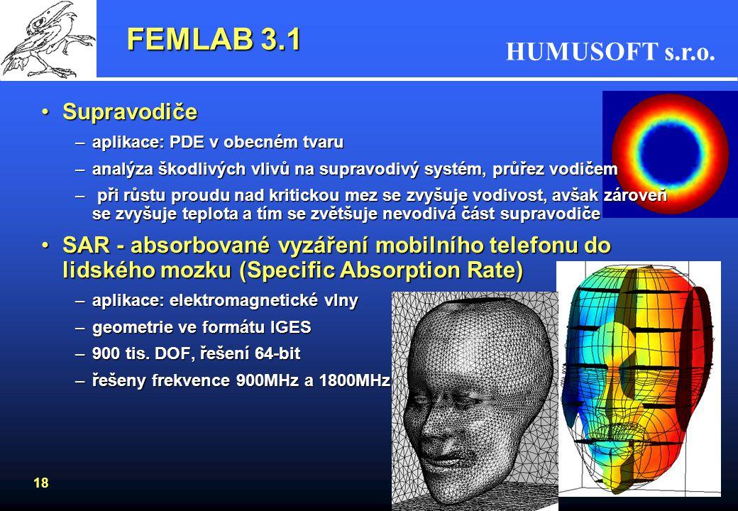 HUMUSOFT s.r.o. 18 FEMLAB 3.1 SupravodičeSupravodiče –aplikace: PDE v obecném tvaru –analýza škodlivých vlivů na supravodivý systém, průřez vodičem –