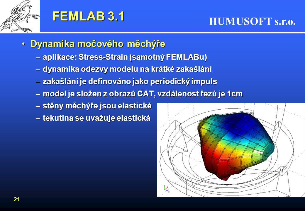 HUMUSOFT s.r.o. 21 FEMLAB 3.1 Dynamika močového měchýřeDynamika močového měchýře –aplikace:Stress-Strain (samotný FEMLABu) –aplikace: Stress-Strain (s