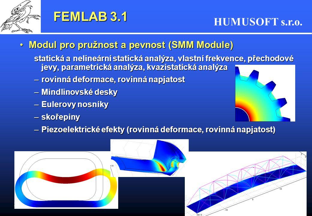 HUMUSOFT s.r.o. 23 FEMLAB 3.1 Modul pro pružnost a pevnost (SMM Module)Modul pro pružnost a pevnost (SMM Module) statická a nelineární statická analýz