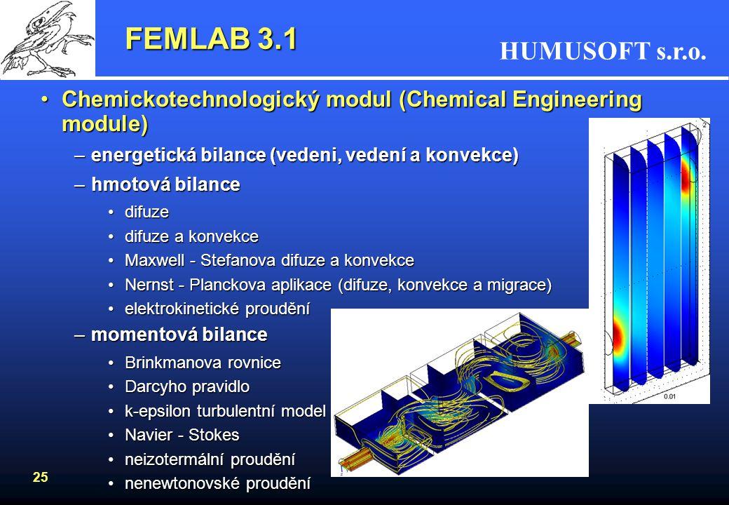 HUMUSOFT s.r.o. 25 FEMLAB 3.1 Chemickotechnologický modul (Chemical Engineering module)Chemickotechnologický modul (Chemical Engineering module) –ener