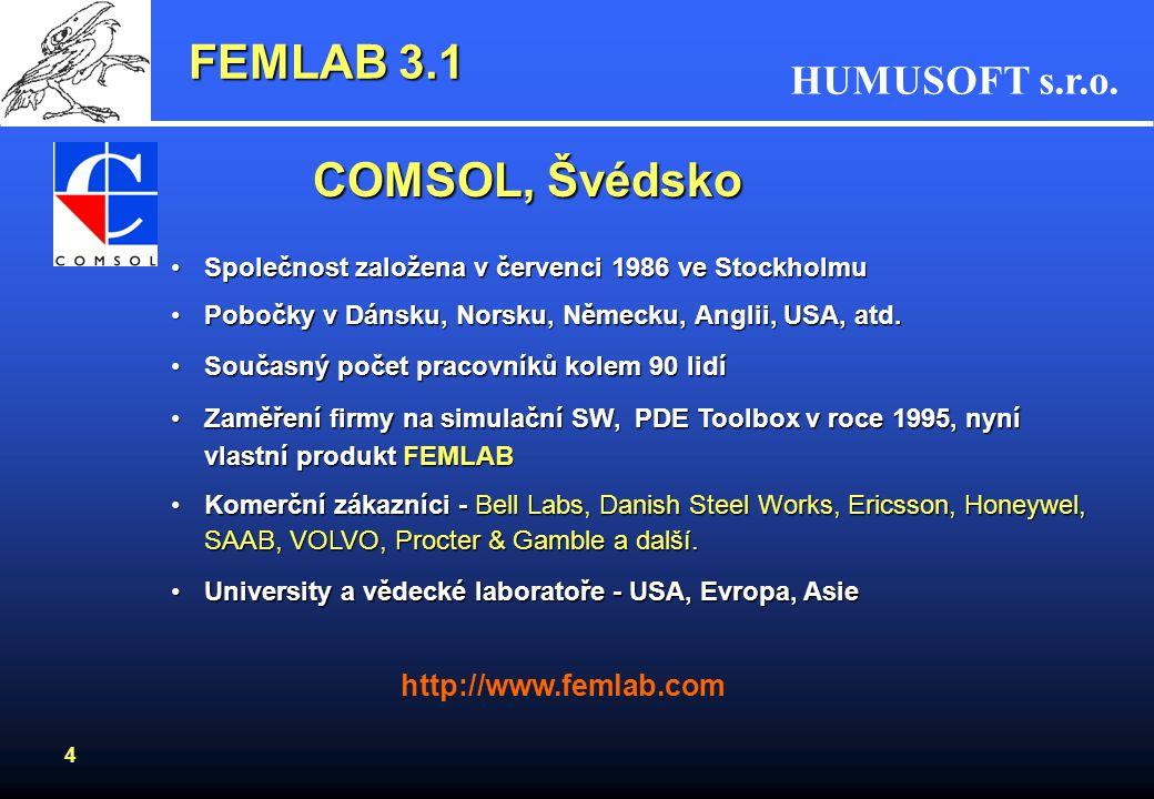 HUMUSOFT s.r.o. 4 FEMLAB 3.1 COMSOL, Švédsko Společnost založena v červenci 1986 ve StockholmuSpolečnost založena v červenci 1986 ve Stockholmu Pobočk