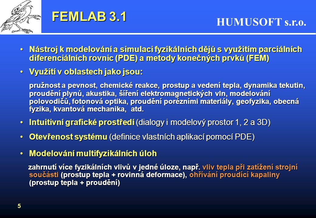 HUMUSOFT s.r.o. 5 FEMLAB 3.1 Nástroj k modelování a simulaci fyzikálních dějů s využitím parciálních diferenciálních rovnic (PDE) a metody konečných p