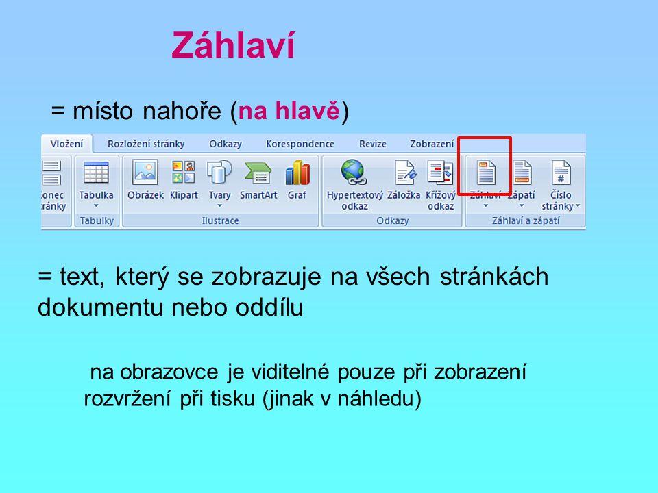 Záhlaví = místo nahoře (na hlavě) na obrazovce je viditelné pouze při zobrazení rozvržení při tisku (jinak v náhledu) = text, který se zobrazuje na všech stránkách dokumentu nebo oddílu