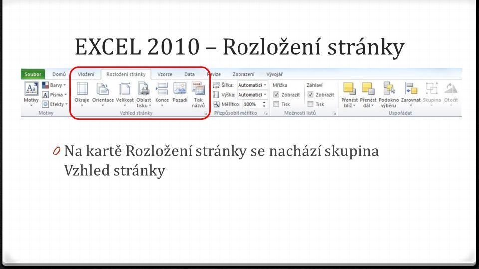 EXCEL 2010 – Rozložení stránky 0 Na kartě Rozložení stránky se nachází skupina Vzhled stránky