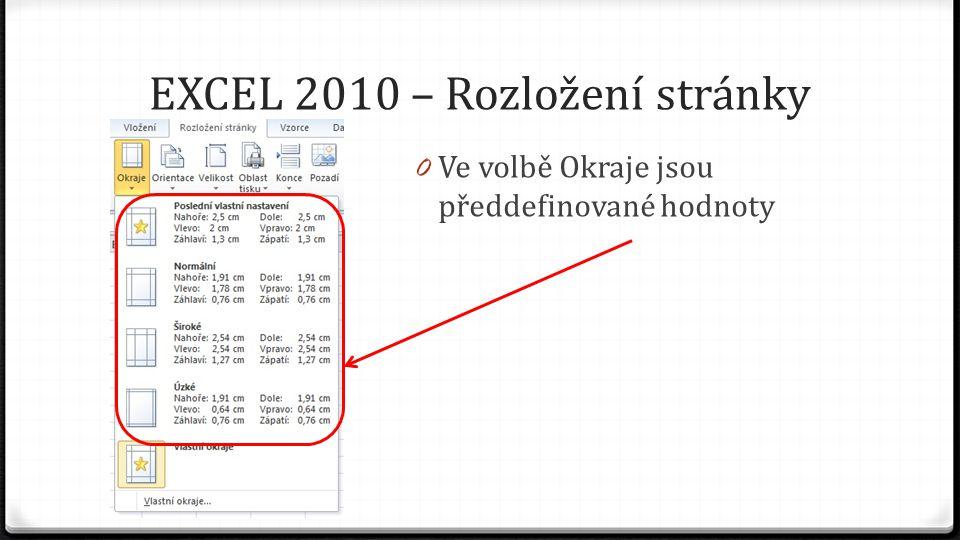 EXCEL 2010 – Rozložení stránky 0 Ve volbě Okraje jsou předdefinované hodnoty