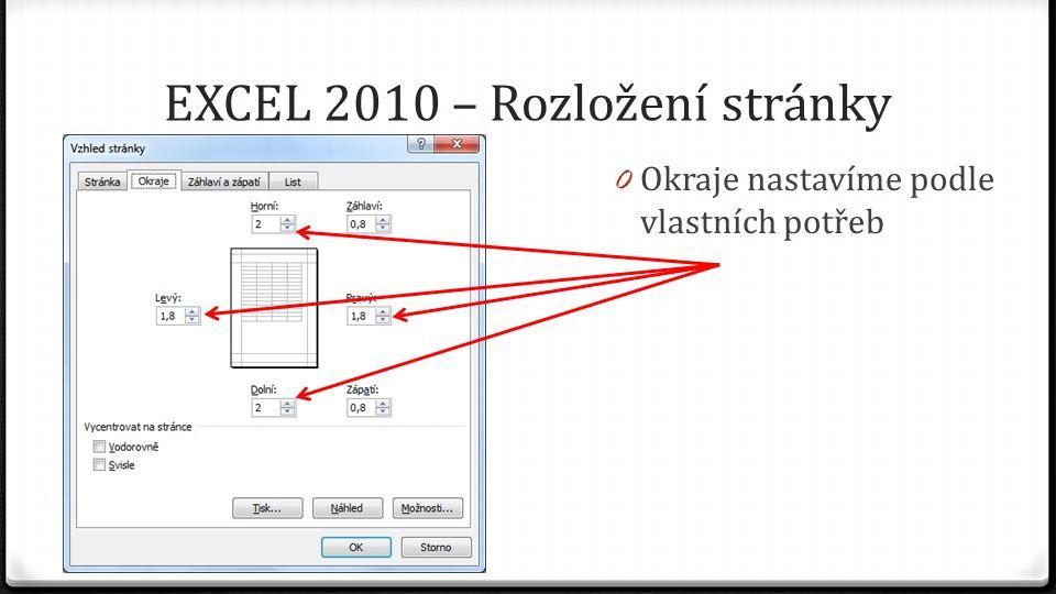 EXCEL 2010 – Rozložení stránky 0 Okraje nastavíme podle vlastních potřeb
