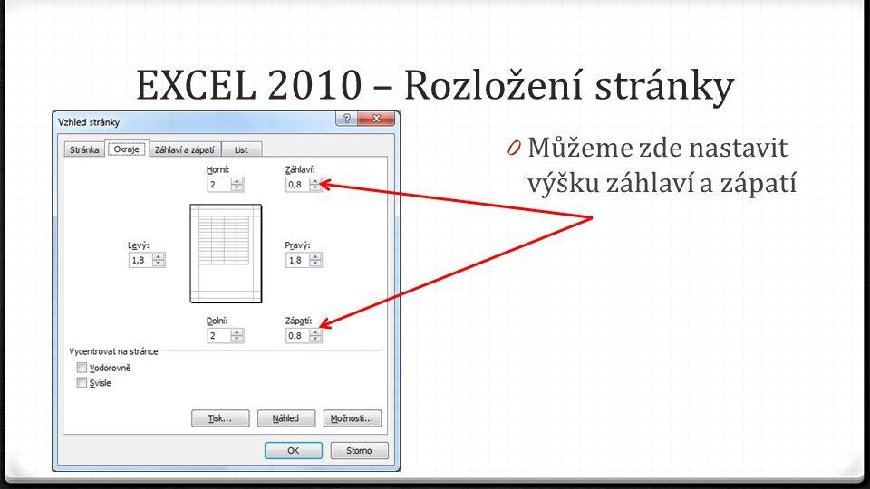 EXCEL 2010 – Rozložení stránky 0 Můžeme zde nastavit výšku záhlaví a zápatí