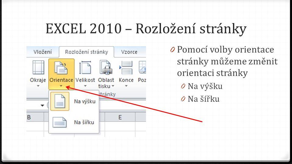 EXCEL 2010 – Rozložení stránky 0 Pomocí volby orientace stránky můžeme změnit orientaci stránky 0 Na výšku 0 Na šířku