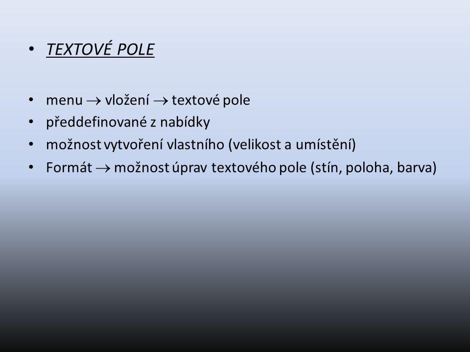 TEXTOVÉ POLE menu  vložení  textové pole předdefinované z nabídky možnost vytvoření vlastního (velikost a umístění) Formát  možnost úprav textového