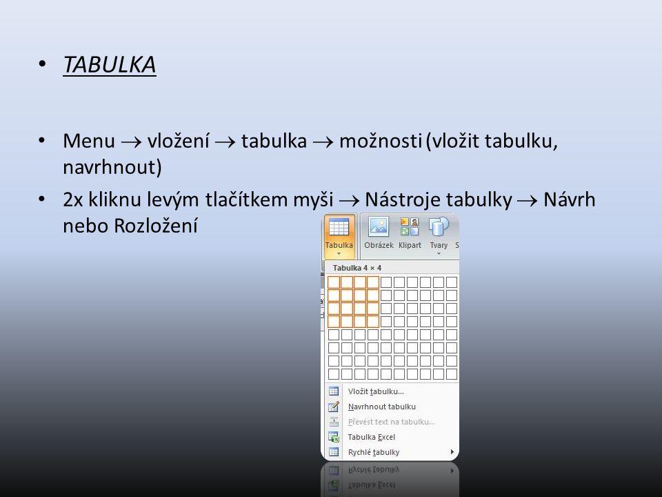 TABULKA Menu  vložení  tabulka  možnosti (vložit tabulku, navrhnout) 2x kliknu levým tlačítkem myši  Nástroje tabulky  Návrh nebo Rozložení
