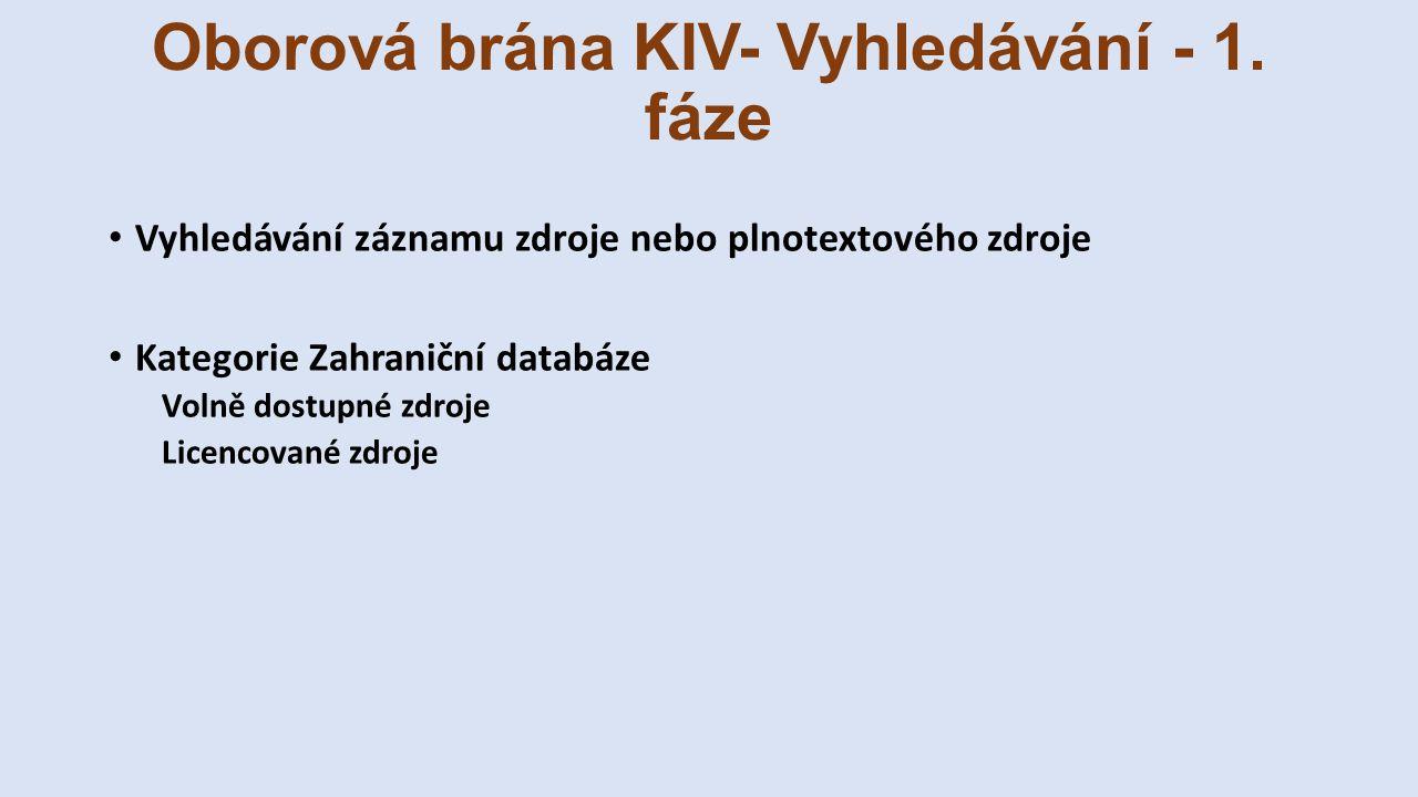 Oborová brána KIV- Vyhledávání - 1. fáze Vyhledávání záznamu zdroje nebo plnotextového zdroje Kategorie Zahraniční databáze Volně dostupné zdroje Lice