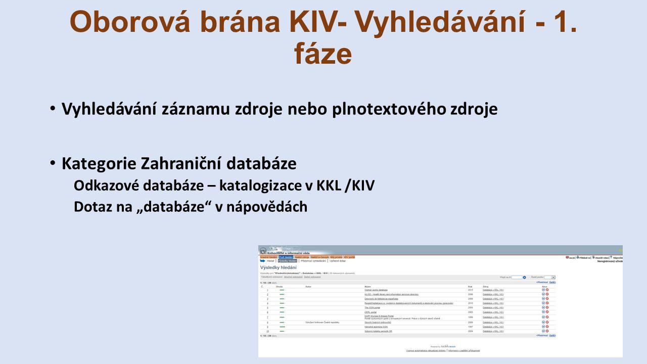 Oborová brána KIV- Vyhledávání - 1. fáze Vyhledávání záznamu zdroje nebo plnotextového zdroje Kategorie Zahraniční databáze Odkazové databáze – katalo