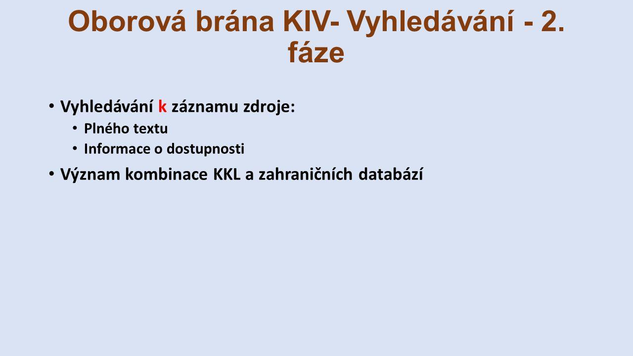 Oborová brána KIV- Vyhledávání - 2. fáze Vyhledávání k záznamu zdroje: Plného textu Informace o dostupnosti Význam kombinace KKL a zahraničních databá