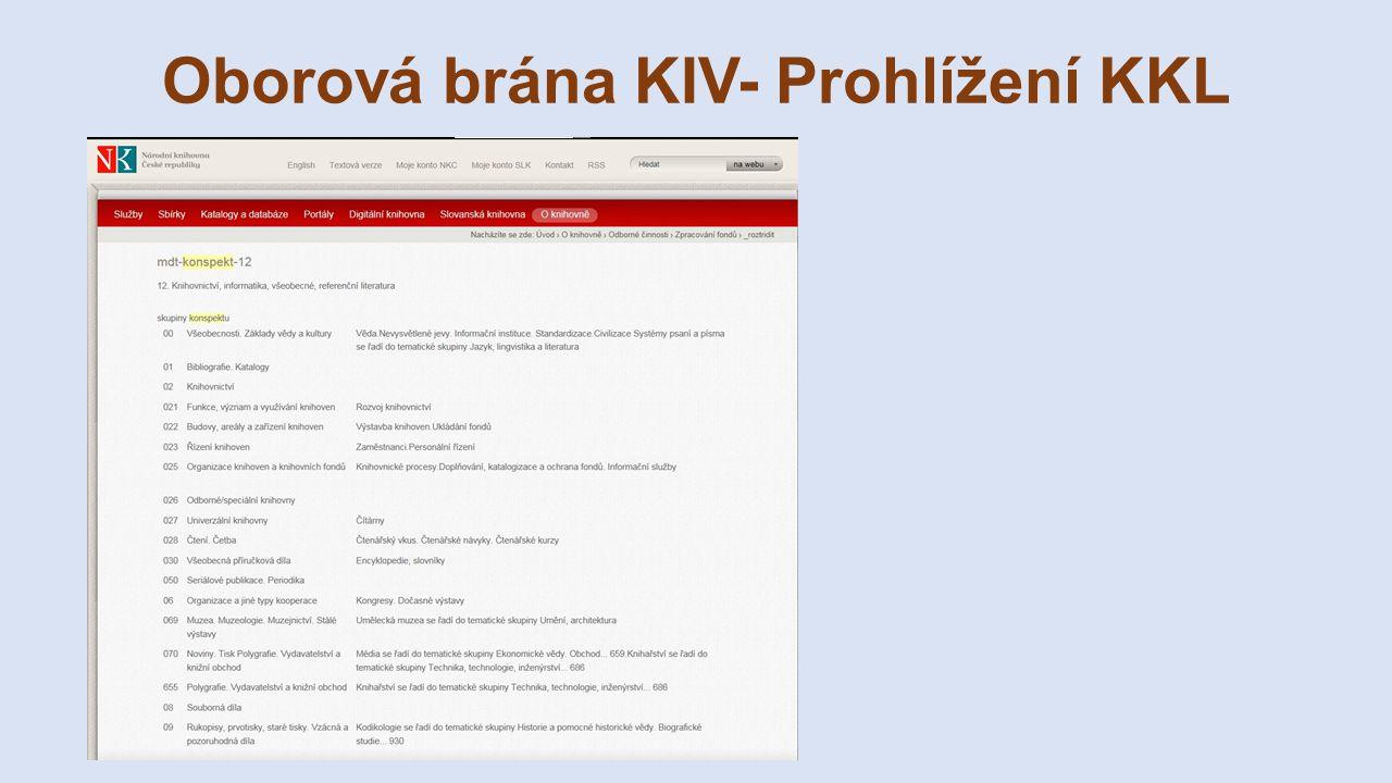 Oborová brána KIV- Prohlížení KKL