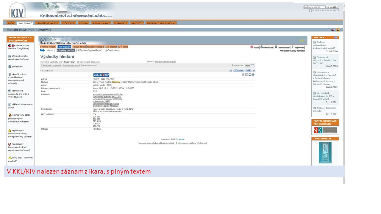 V KKL/KIV nalezen záznam z Ikara, s plným textem