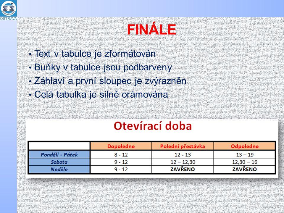FINÁLE Text v tabulce je zformátován Buňky v tabulce jsou podbarveny Záhlaví a první sloupec je zvýrazněn Celá tabulka je silně orámována
