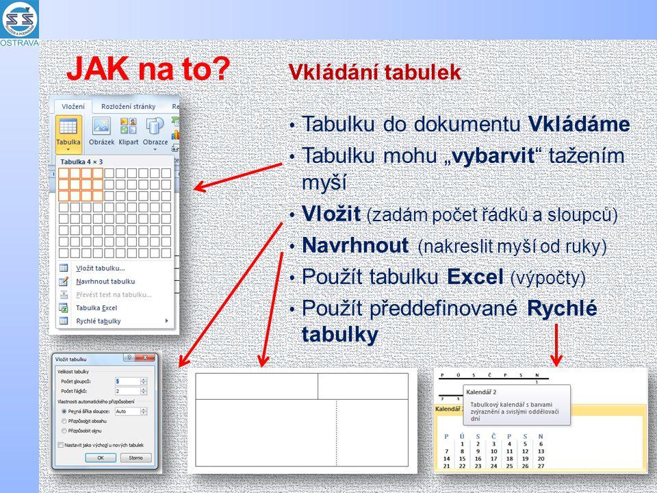 """Tabulku do dokumentu Vkládáme Tabulku mohu """"vybarvit tažením myší Vložit (zadám počet řádků a sloupců) Navrhnout (nakreslit myší od ruky) Použít tabulku Excel (výpočty) Použít předdefinované Rychlé tabulky Vkládání tabulek JAK na to"""