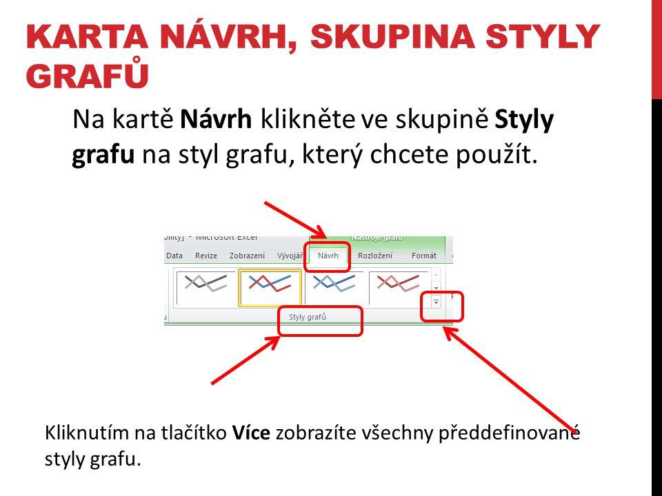 Kliknutím na tlačítko Více zobrazíte všechny předdefinované styly grafu. Na kartě Návrh klikněte ve skupině Styly grafu na styl grafu, který chcete po