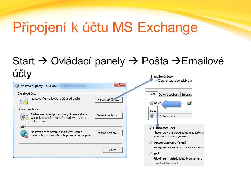 Click to edit headline title style Click to edit body copy. Připojení k účtu MS Exchange Start  Ovládací panely  Pošta  Emailové účty