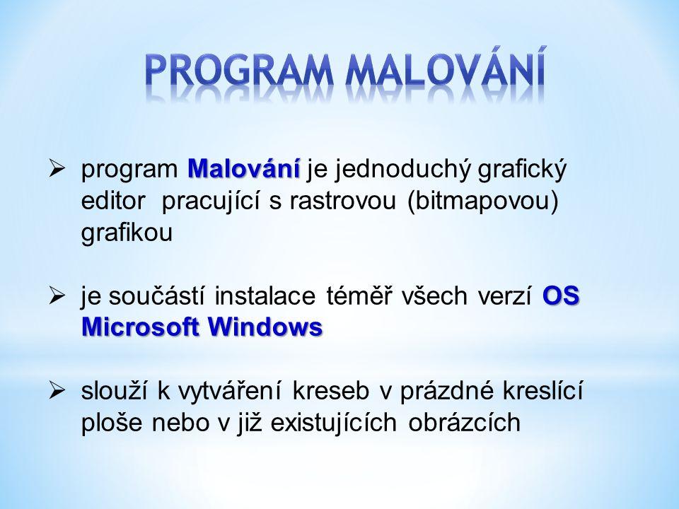 Malování  program Malování je jednoduchý grafický editor pracující s rastrovou (bitmapovou) grafikou OS Microsoft Windows  je součástí instalace tém