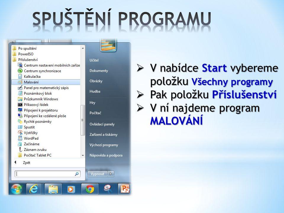  V nabídce Start vybereme položku Všechny programy  Pak položku Příslušenství  V ní najdeme program MALOVÁNÍ