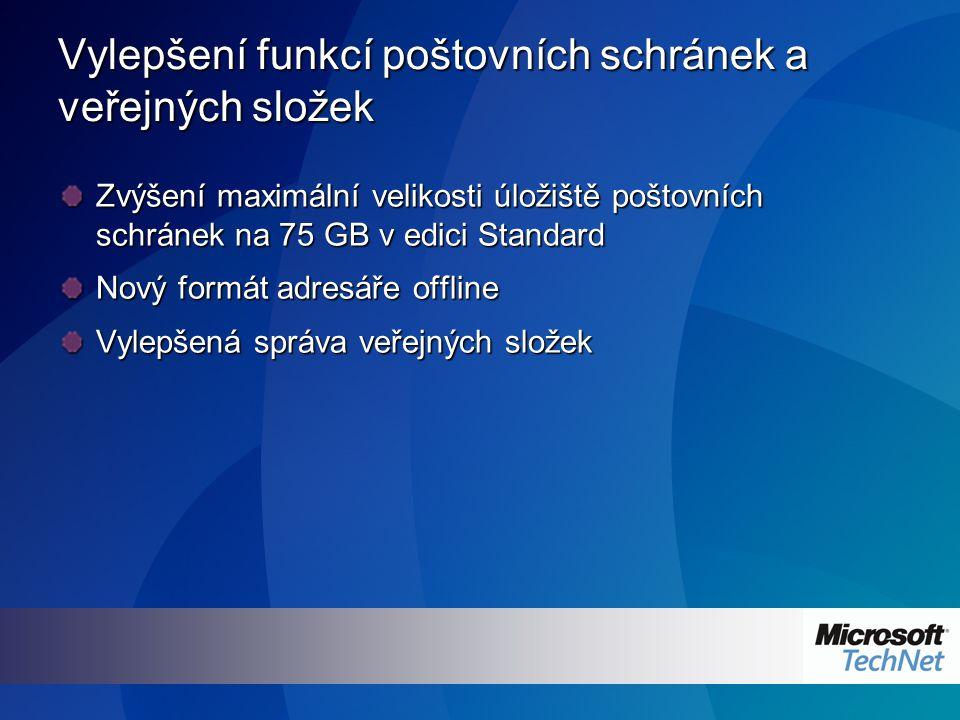 Vylepšení funkcí poštovních schránek a veřejných složek Zvýšení maximální velikosti úložiště poštovních schránek na 75 GB v edici Standard Nový formát adresáře offline Vylepšená správa veřejných složek