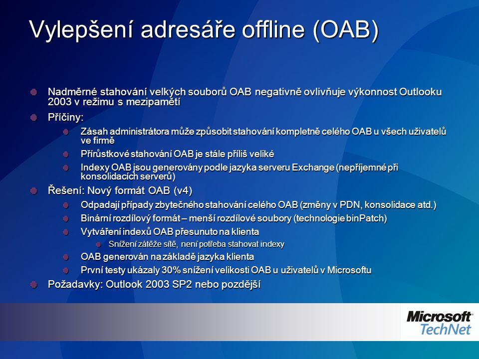 Vylepšení adresáře offline (OAB) Nadměrné stahování velkých souborů OAB negativně ovlivňuje výkonnost Outlooku 2003 v režimu s mezipamětí Příčiny: Zásah administrátora může způsobit stahování kompletně celého OAB u všech uživatelů ve firmě Přírůstkové stahování OAB je stále příliš veliké Indexy OAB jsou generovány podle jazyka serveru Exchange (nepříjemné při konsolidacích serverů) Řešení: Nový formát OAB (v4) Odpadají případy zbytečného stahování celého OAB (změny v PDN, konsolidace atd.) Binární rozdílový formát – menší rozdílové soubory (technologie binPatch) Vytváření indexů OAB přesunuto na klienta Snížení zátěže sítě, není potřeba stahovat indexy OAB generován na základě jazyka klienta První testy ukázaly 30% snížení velikosti OAB u uživatelů v Microsoftu Požadavky: Outlook 2003 SP2 nebo pozdější
