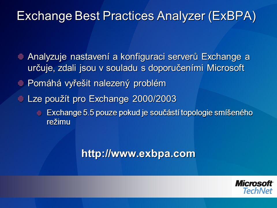 Exchange Best Practices Analyzer (ExBPA) Analyzuje nastavení a konfiguraci serverů Exchange a určuje, zdali jsou v souladu s doporučeními Microsoft Pomáhá vyřešit nalezený problém Lze použít pro Exchange 2000/2003 Exchange 5.5 pouze pokud je součástí topologie smíšeného režimu http://www.exbpa.com