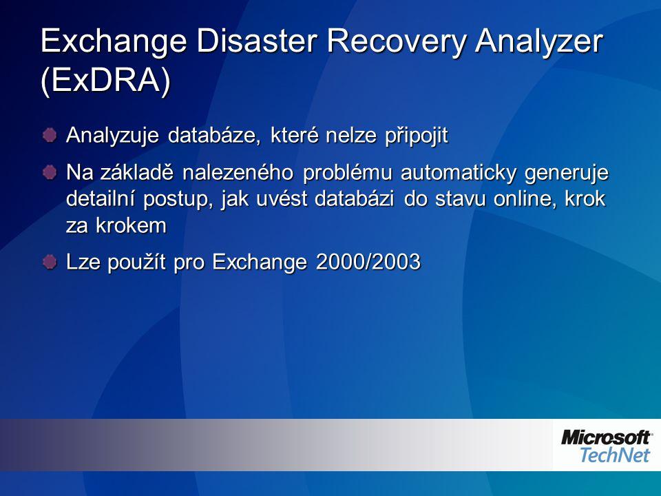 Exchange Disaster Recovery Analyzer (ExDRA) Analyzuje databáze, které nelze připojit Na základě nalezeného problému automaticky generuje detailní postup, jak uvést databázi do stavu online, krok za krokem Lze použít pro Exchange 2000/2003