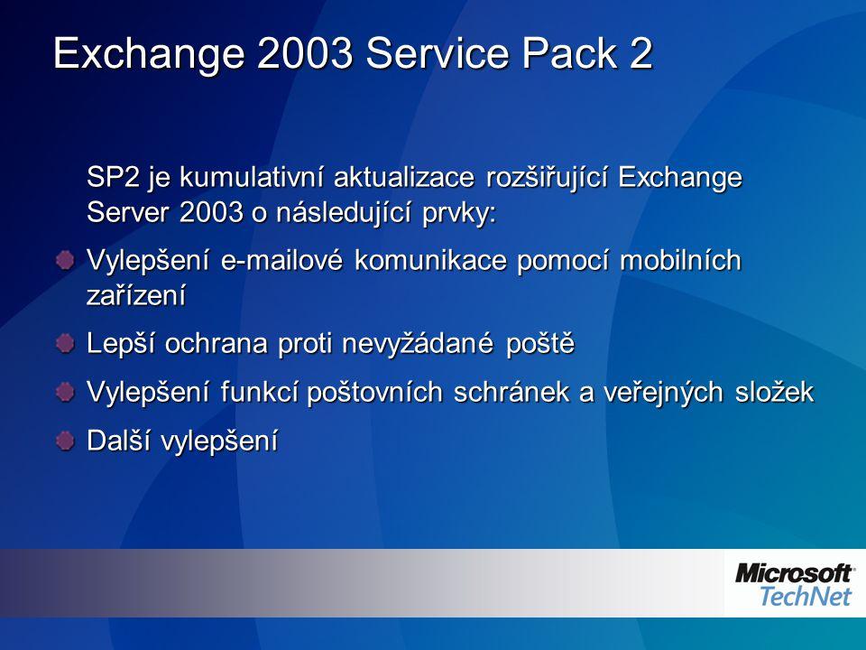 Exchange 2003 Service Pack 2 SP2 je kumulativní aktualizace rozšiřující Exchange Server 2003 o následující prvky: Vylepšení e-mailové komunikace pomocí mobilních zařízení Lepší ochrana proti nevyžádané poště Vylepšení funkcí poštovních schránek a veřejných složek Další vylepšení