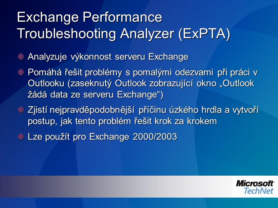 """Exchange Performance Troubleshooting Analyzer (ExPTA) Analyzuje výkonnost serveru Exchange Pomáhá řešit problémy s pomalými odezvami při práci v Outlooku (zaseknutý Outlook zobrazující okno """"Outlook žádá data ze serveru Exchange ) Zjistí nejpravděpodobnější příčinu úzkého hrdla a vytvoří postup, jak tento problém řešit krok za krokem Lze použít pro Exchange 2000/2003"""