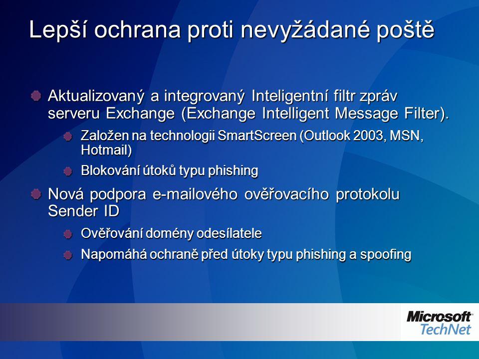 Lepší ochrana proti nevyžádané poště Aktualizovaný a integrovaný Inteligentní filtr zpráv serveru Exchange (Exchange Intelligent Message Filter).