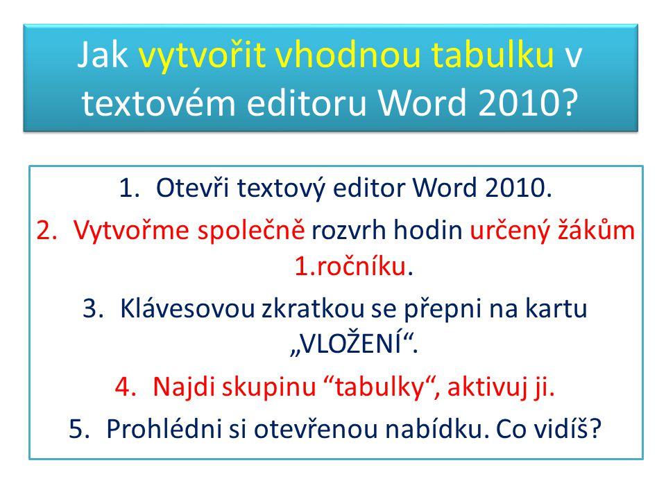 Jak vytvořit vhodnou tabulku v textovém editoru Word 2010? 1.Otevři textový editor Word 2010. 2.Vytvořme společně rozvrh hodin určený žákům 1.ročníku.
