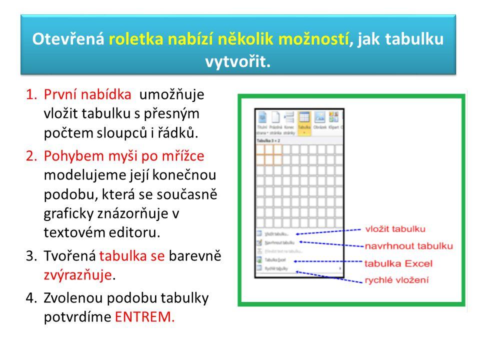 Otevřená roletka nabízí několik možností, jak tabulku vytvořit. 1.První nabídka umožňuje vložit tabulku s přesným počtem sloupců i řádků. 2.Pohybem my