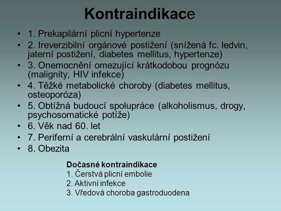 Kontraindikace 1. Prekapilární plicní hypertenze 2. Ireverzibilní orgánové postižení (snížená fc. ledvin, jaterní postižení, diabetes mellitus, hypert