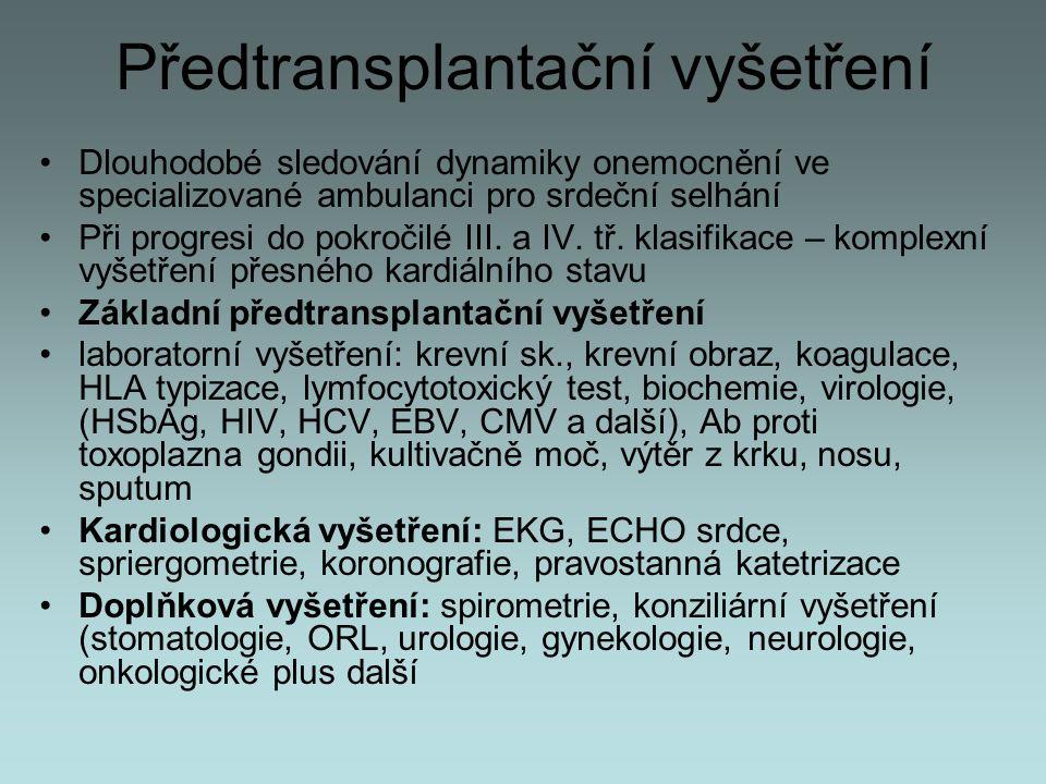 Předtransplantační vyšetření Dlouhodobé sledování dynamiky onemocnění ve specializované ambulanci pro srdeční selhání Při progresi do pokročilé III. a